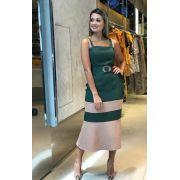 Vestido Talita Longuete Tweed Bicolor Verde