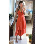 Vestido Tamiris Crepe Saia em Camadas C/Cinto