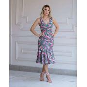 Vestido Valentina Alfaiataria Floral com Cinto 3%Elastano