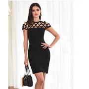 Vestido Valentina Crepe Detalhe Tiras Cores Branco e Preto 3% elastano (forro)