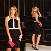 Vestido Valéria Bicolor Midi  Viscomalha com 11% elastano (forro)  Cores Rose e Preto