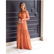 Vestido Valéria Longo  Crepe (forro) + Cinto