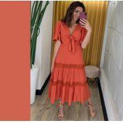 Vestido  Vanessa Viscolinho Detalhe em Guiper e Amarração