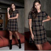Vestido Vitoria Xadrez 2% Elastano preto