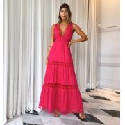 Vestido Vivara Longo Renda Cores Off e Pink