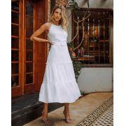 Vestido Viviane Crepe  Decote Halter e Camadas Detalhes em Guipir C/Cinto