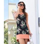 Vestidos Milena  Moletinho  Floral Acompanha Mascara