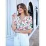 Blusa Ariane Crepe Floral Detalhe Babadinhos Laço Amarração