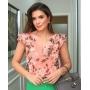 Blusa Luciana Crepe Floral Detalhe Decote V C/ Botões