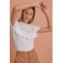 Blusa T Shirt Roberta 100% Algodão Entremeios Detalhe Renda Babados