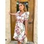 Vestido Gabriela Crepe Floral Decote Princesa Detalhe Manga Bufante