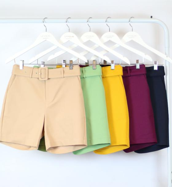 Shorts Bermuda Unique Alfaiataria Com Cinto 4% Elastano