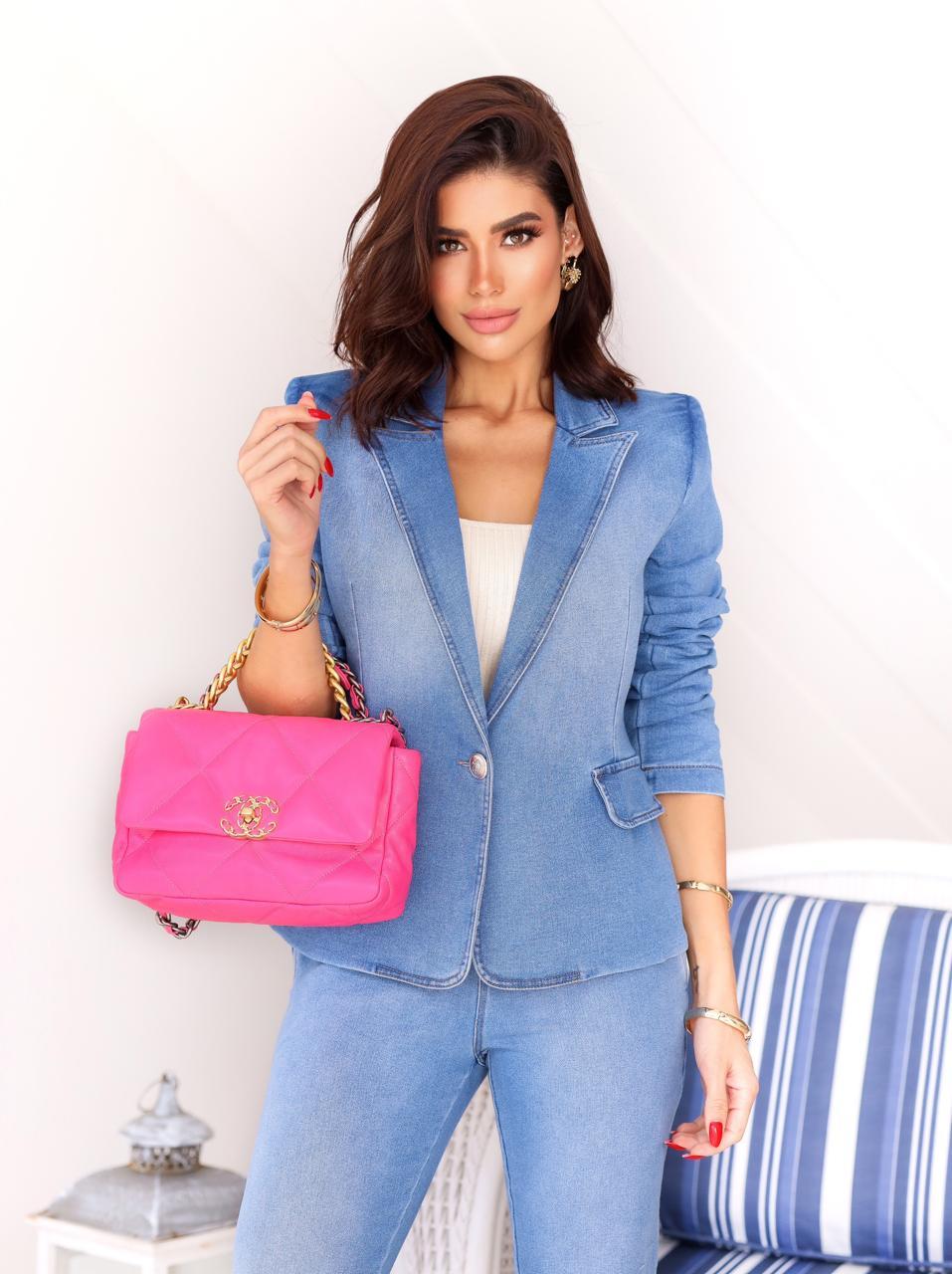 Blazer Morina Jeans Moletom Luxe Detalhe Botão2% Elastano