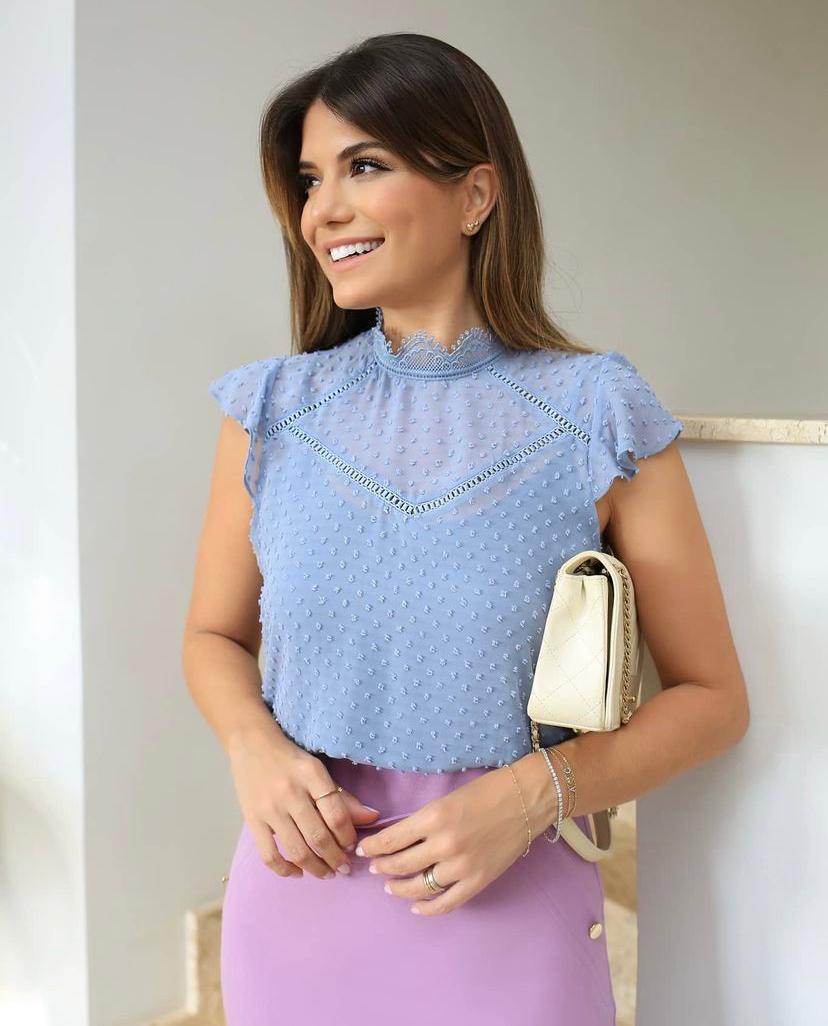 Blusa Adriana Chiffon Textura Poá