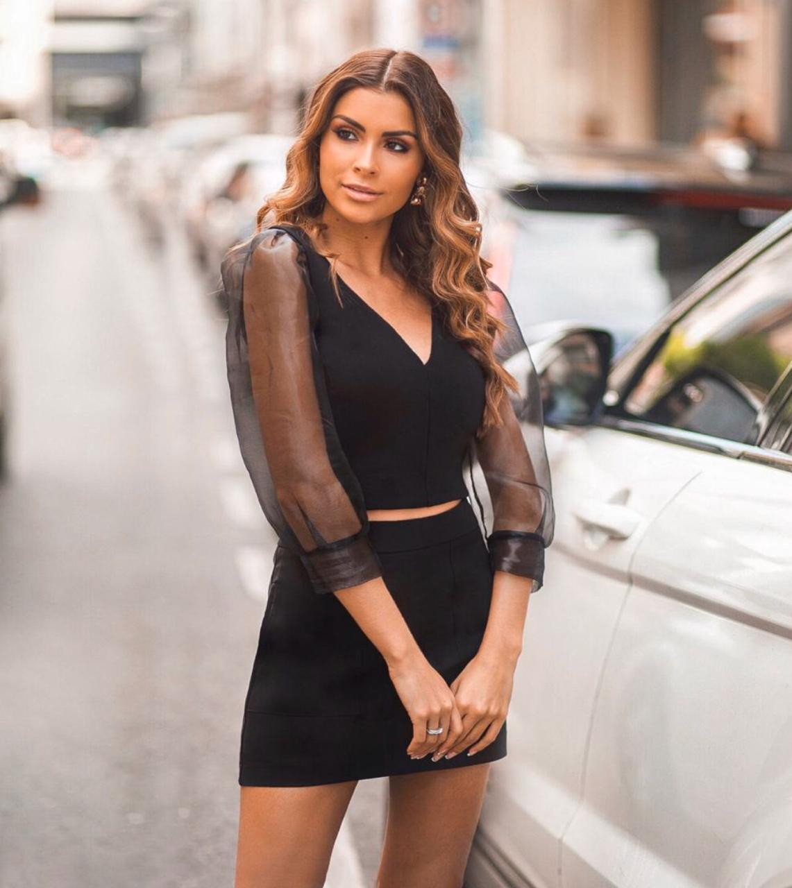Blusa Adriana Mix Bandagem Organza 68% Viscose 27% Poliamida 5% Elastano