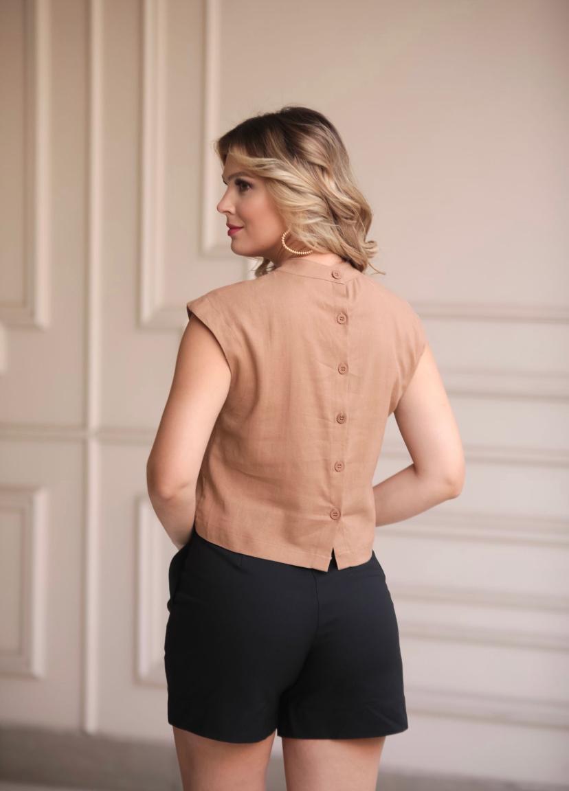 Blusa Alice Linho Com Aplique Laço Poa