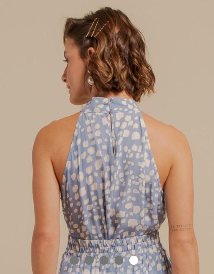 Blusa Alicia Viscose Creponada Print Detalhe Golinha Alta