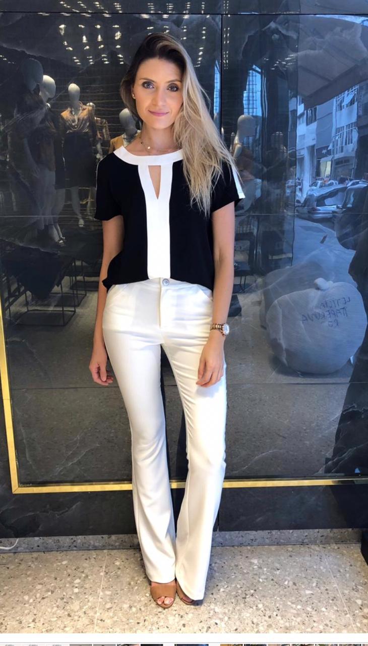 Blusa Amanda Bicolor Crepe