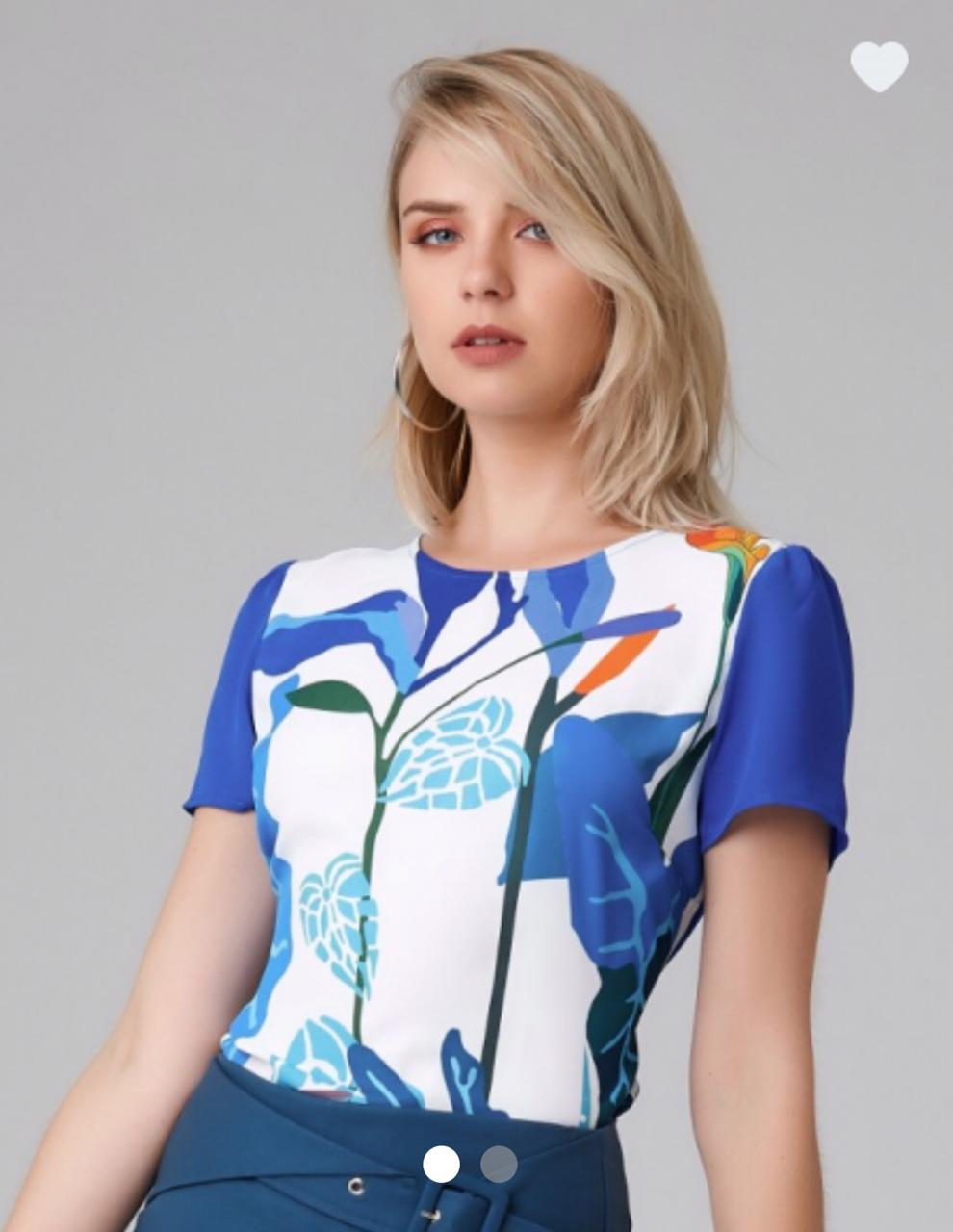 Blusa Amanda Crepe Bicolor