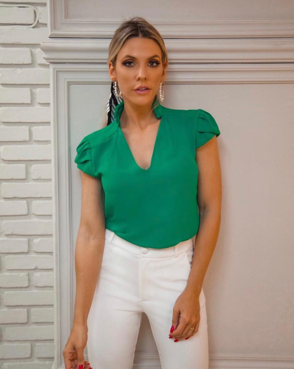 Blusa  Angelica Crepe Detalhe Gola