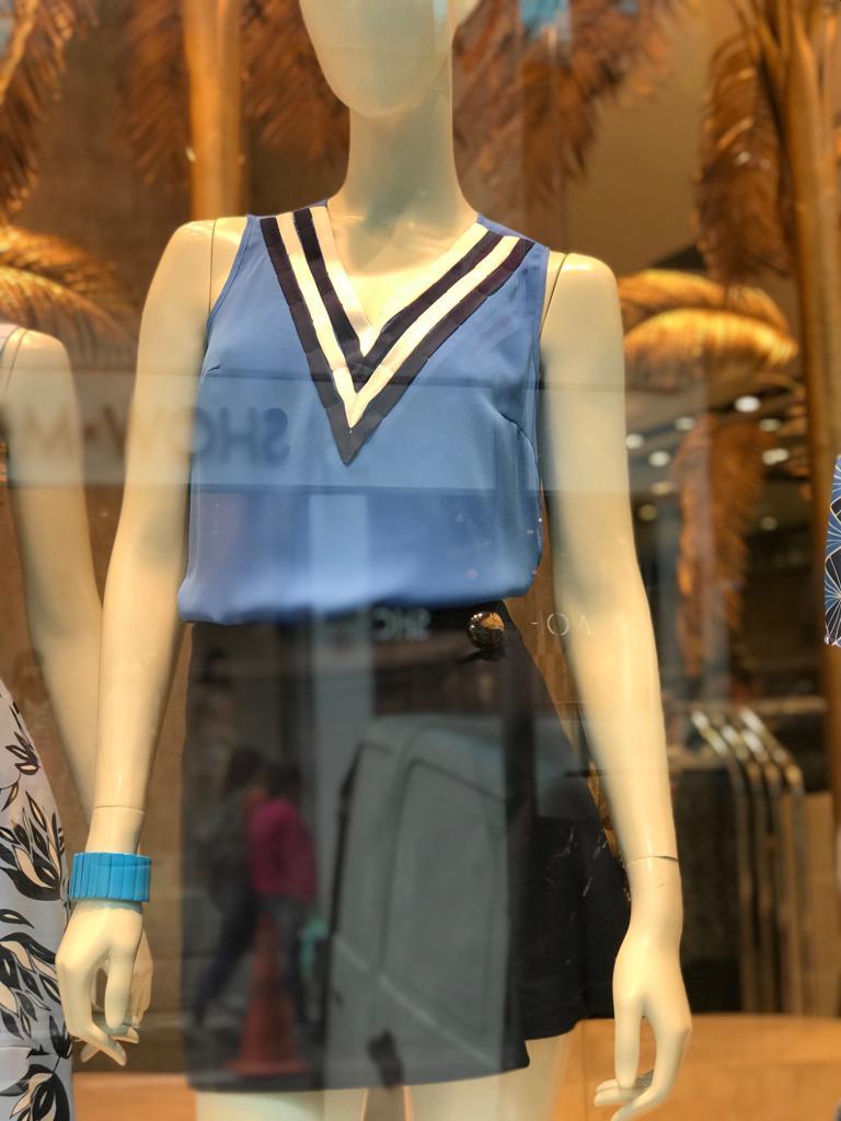 Blusa Angélica Crepe Tiras Color  Cores Azul, Amarelo e Coral
