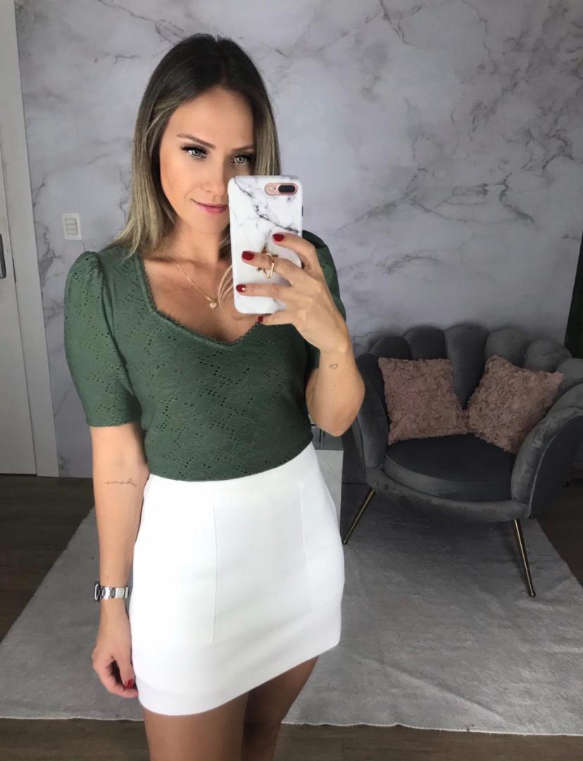 Blusa Anne Malha em Laise Mg Princesa