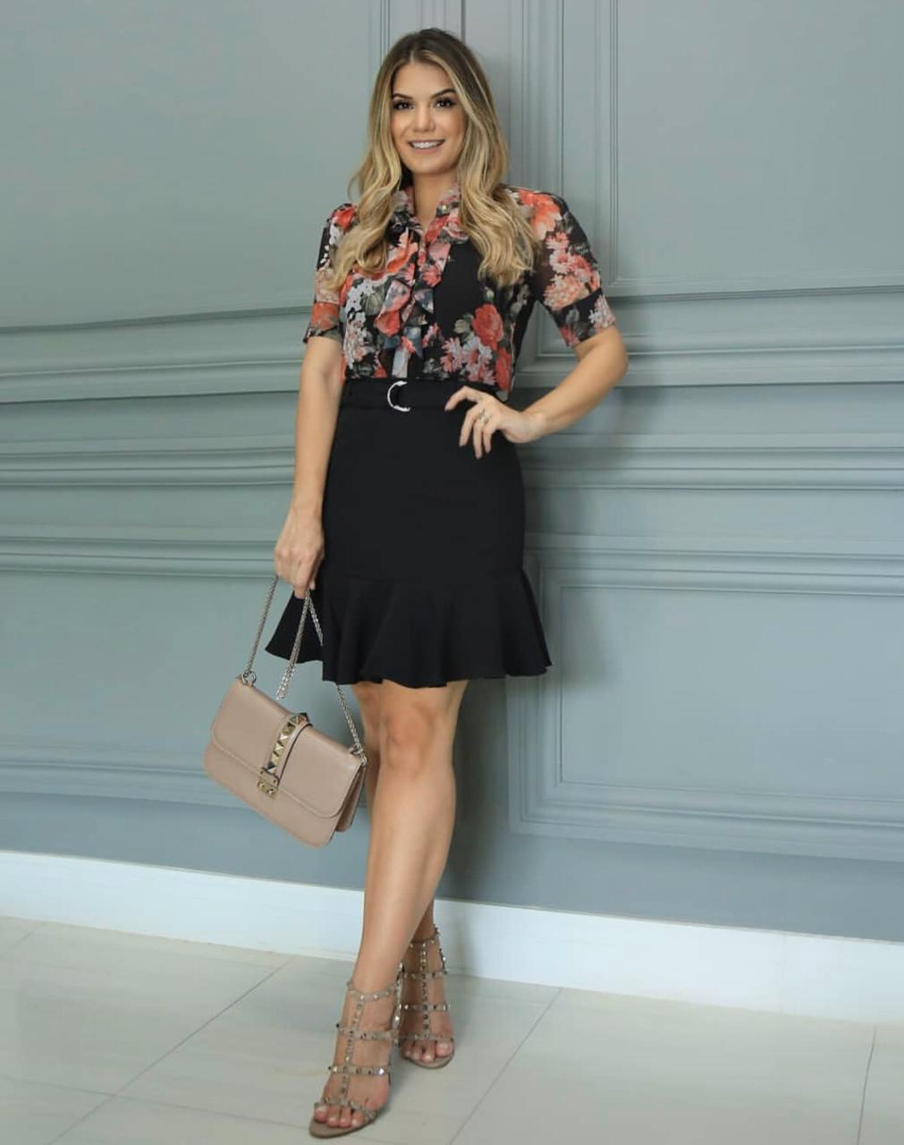 Blusa Ariane Chiffon Floral Com Jabots + Regatas