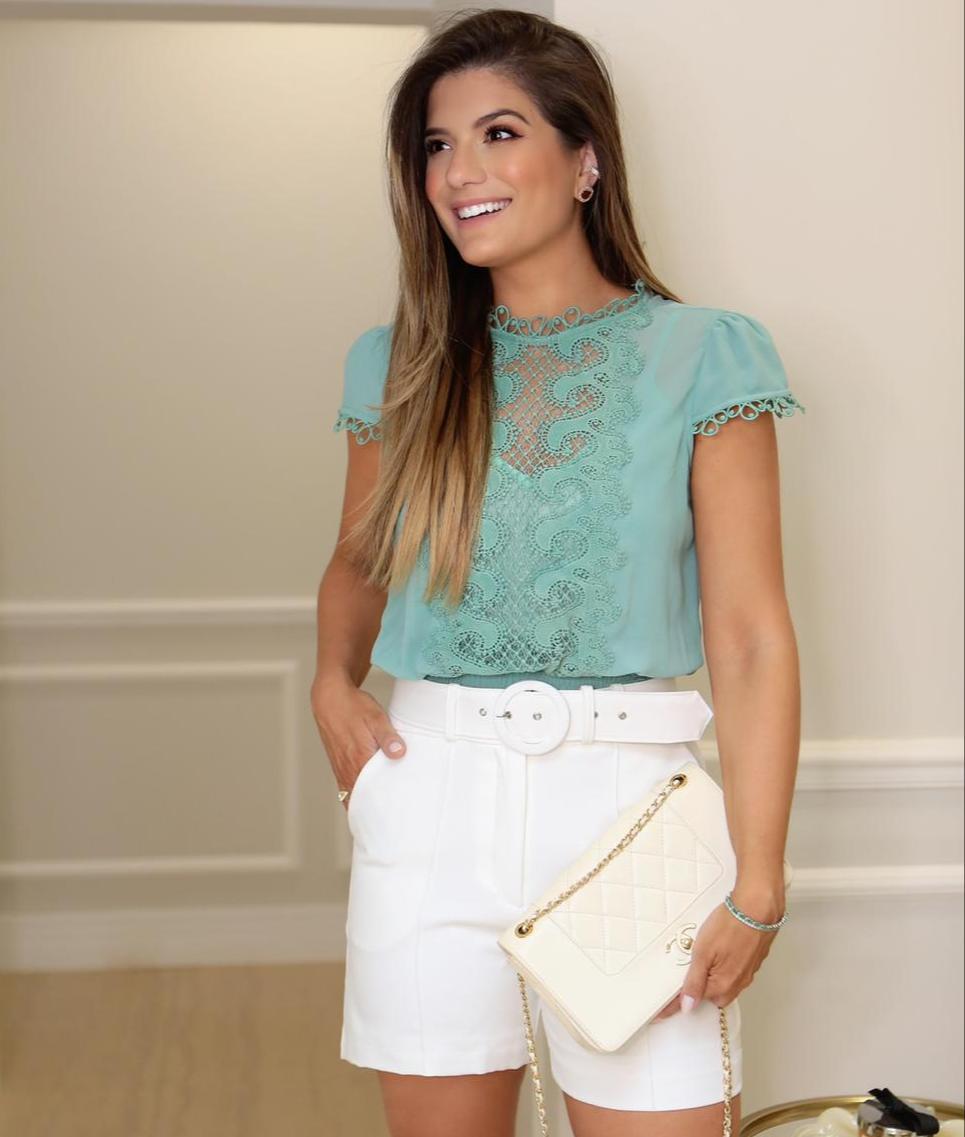 Blusa Ariane Crepe Chiffon Renda + Regata
