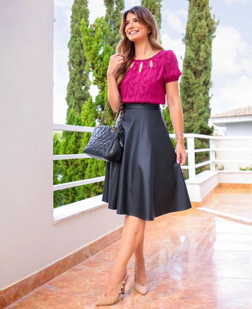 Blusa Ariane  Crepe Jacaquard Detalhe  Gota Frente