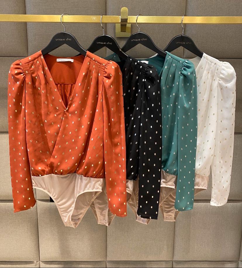 Blusa Body Marina Crepe Transpasse Decote Brilho