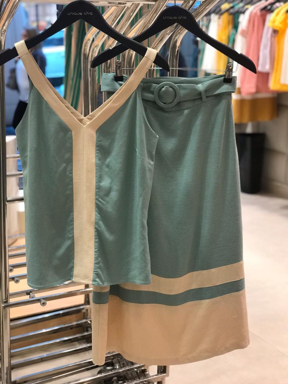 Blusa Carol Linho Bicolor Amarelo e Verde