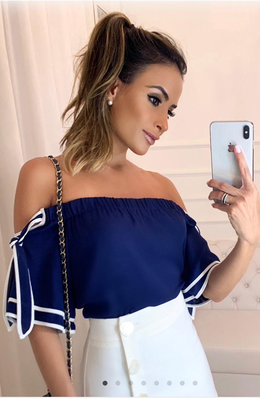 Blusa Caroline Crepe Ombro a Ombro Bicolor