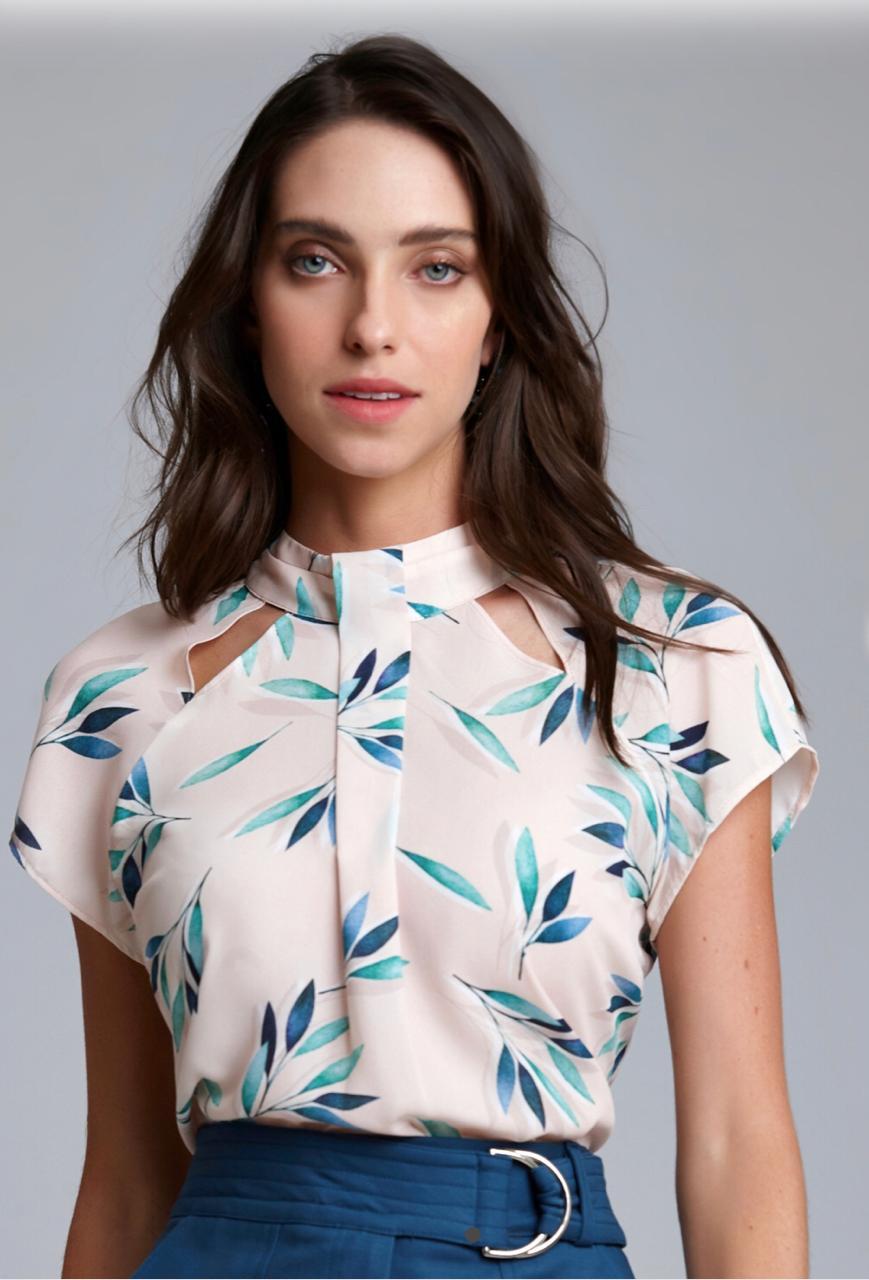 Blusa Caroline Crepe Print Flower