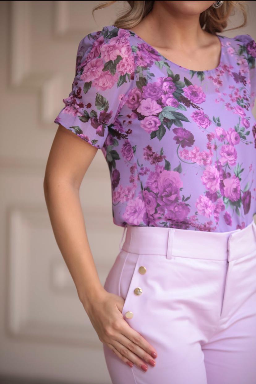 Blusa Cecilia Chiffon Floral Com Regata