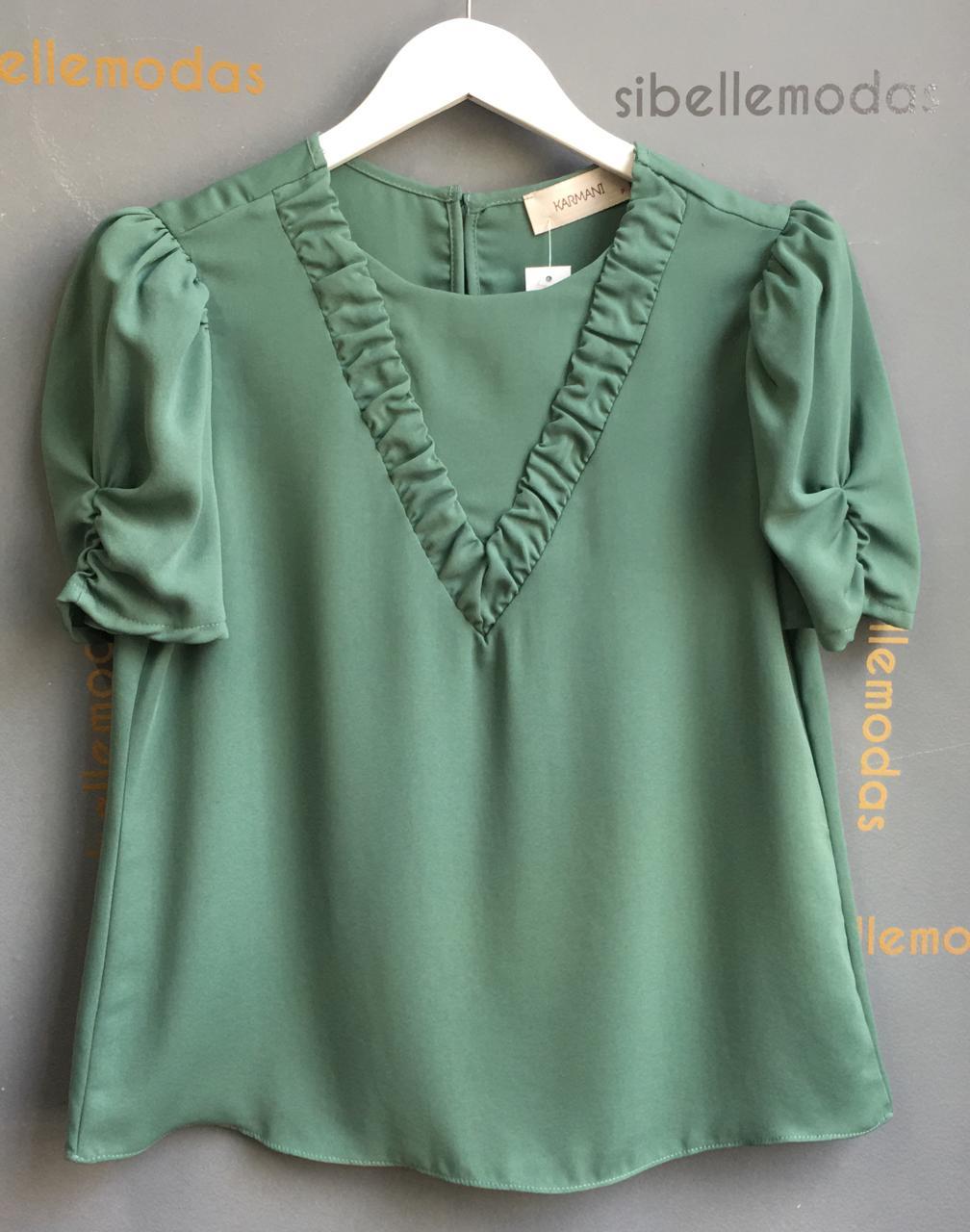 Blusa Celina Crepe Detalhe Decote V Recorte Franzido