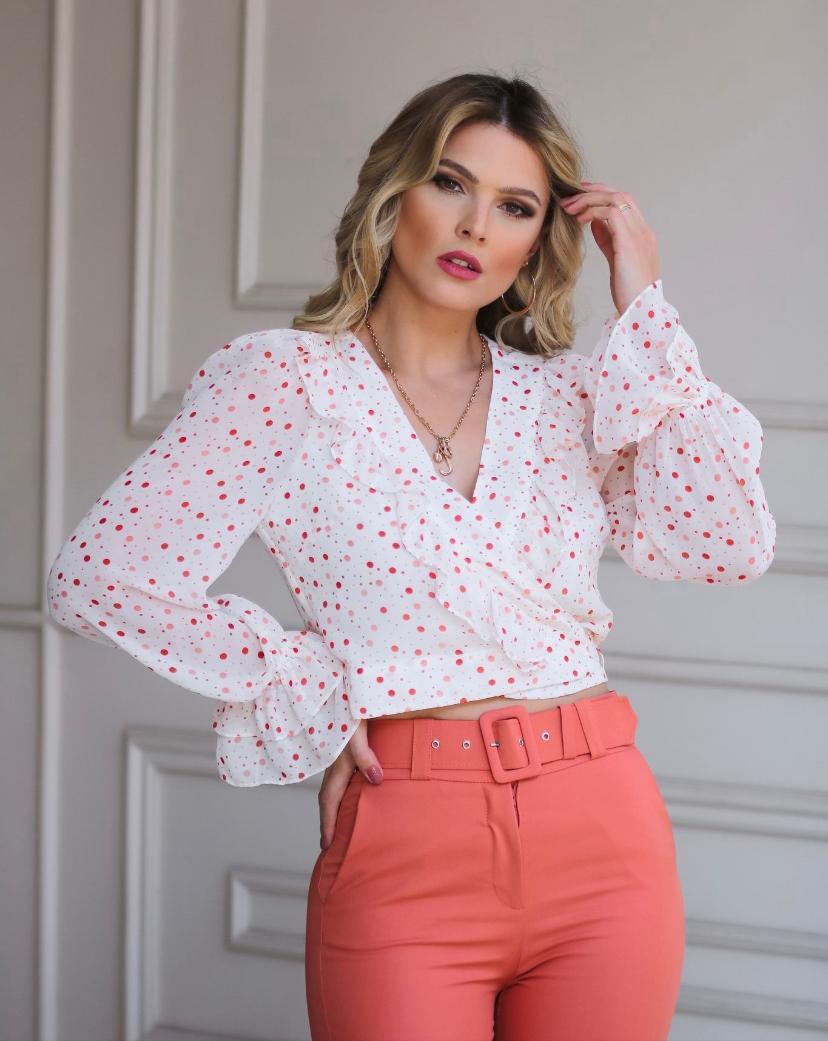 Blusa Charlote Crepe Poa Detalhe Amarração