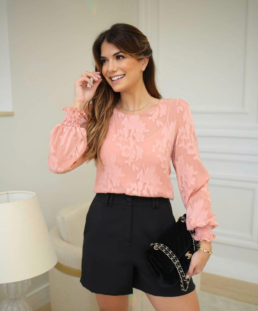 Blusa Ariane Chiffon  Jacquard Detalhe Lastex Punho + Regata