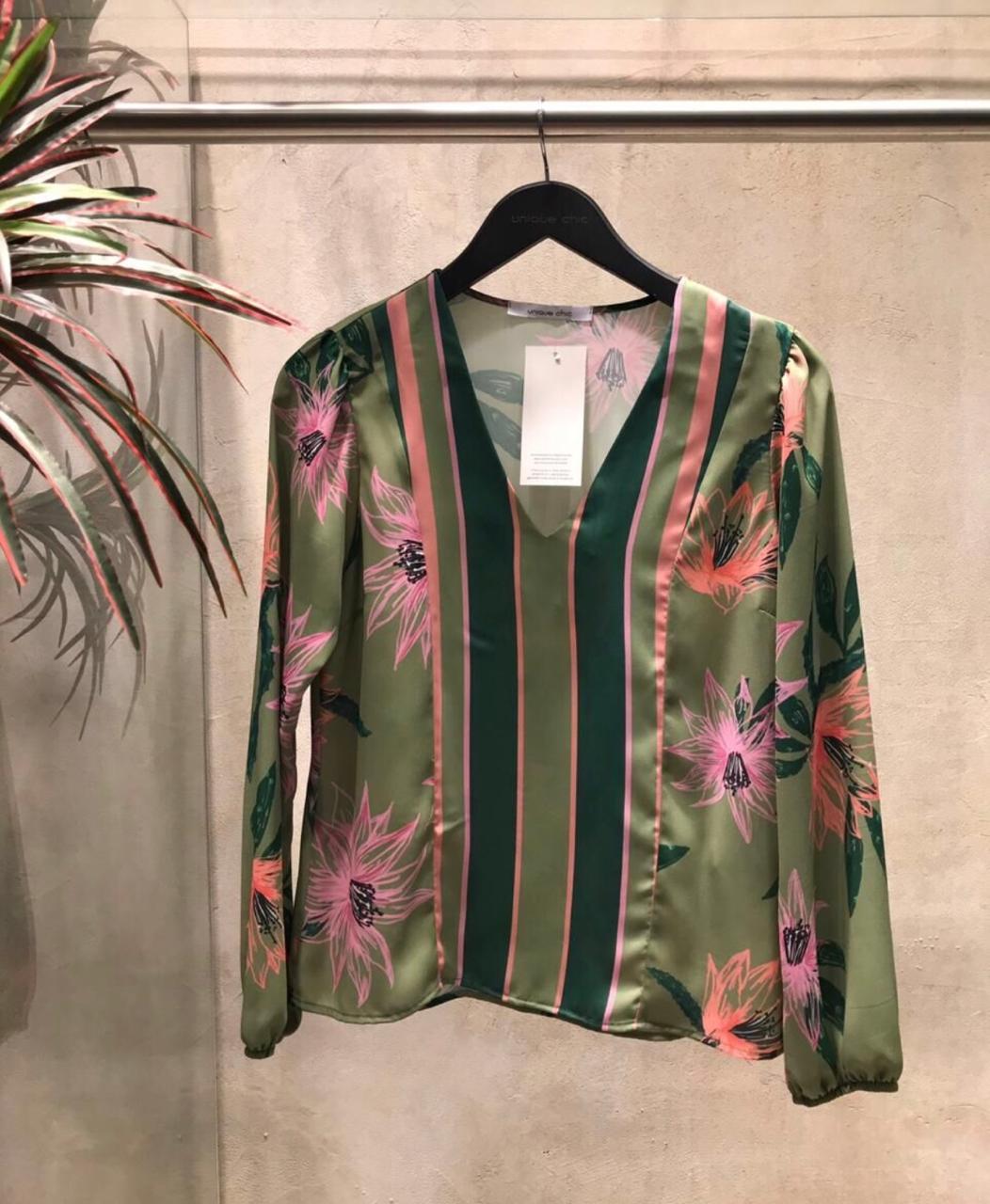 Blusa Clarice Crepe Print Flower Listras