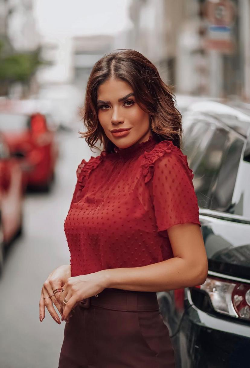 Blusa Cristina Crepe Gola Com Lastex Dots+ Regata