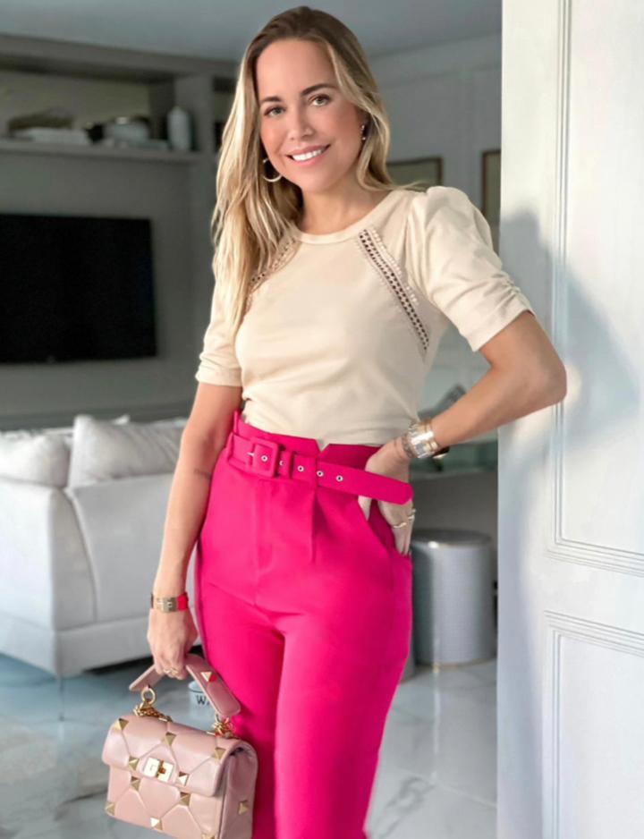 Blusa Cristina Malha Canelada Renda