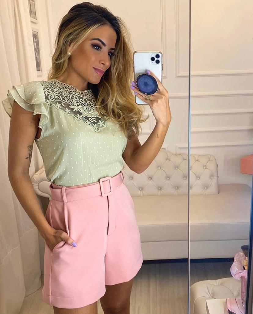 Blusa Debora Crepe Renda