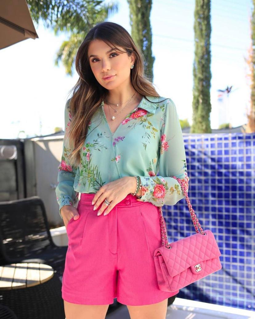Blusa Ariane Chiffon Floral Detalhe Elastico Cintura Transpassada + Regata