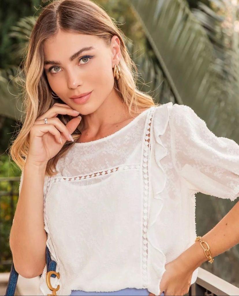 Blusa Eliana Chiffon Devore Detalhe Renda + Regata
