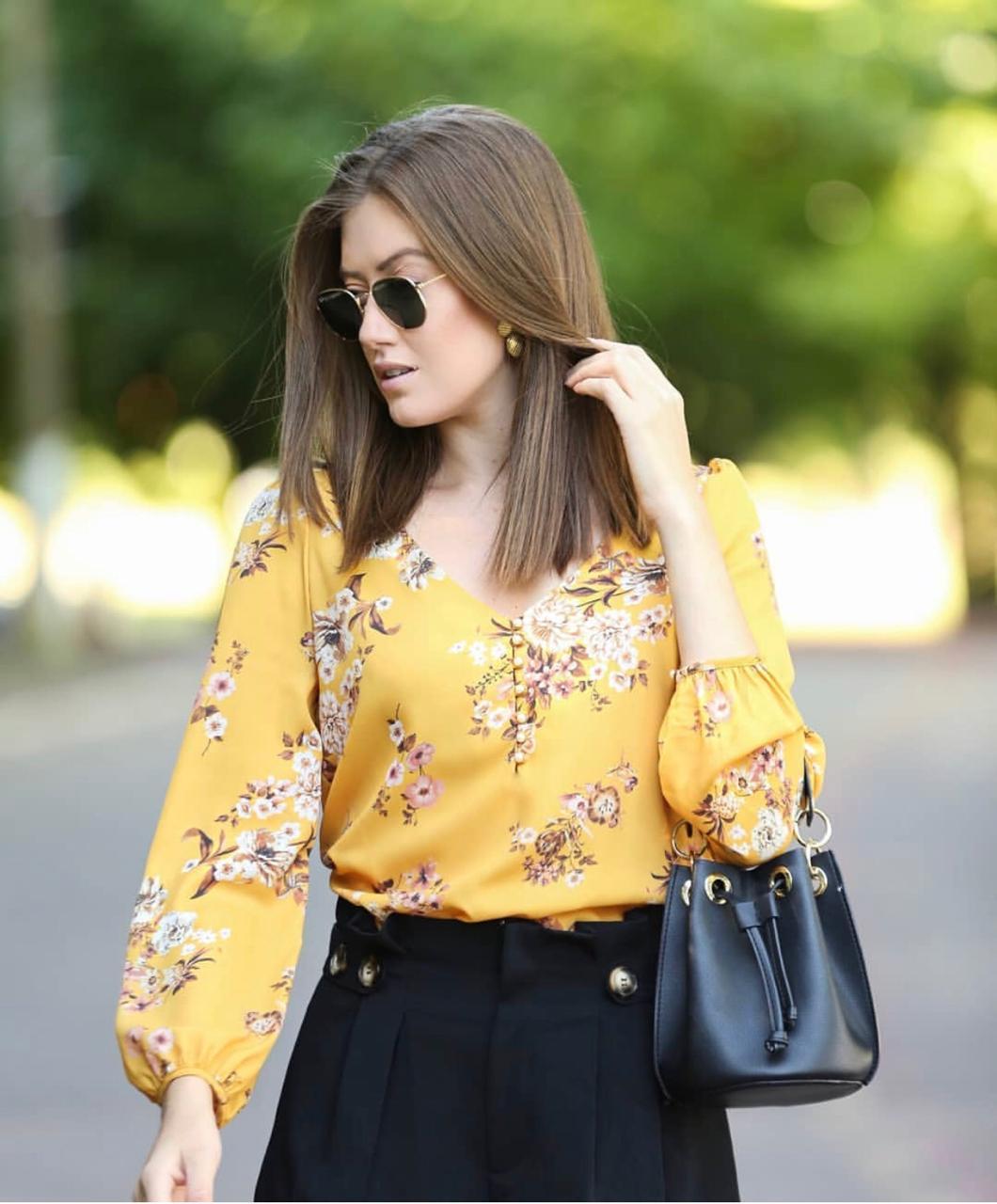 Blusa Eliete Crepe Floral Cores Rose e Mostarda