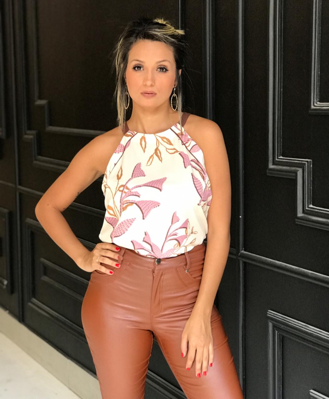 Blusa Elisa Crepe Print Vivo Folhagem