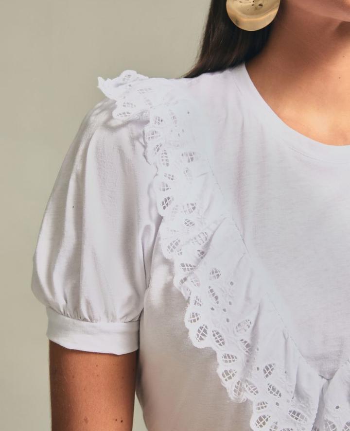 T-shirt Esmeral 100% Algodão Detalhe Babado Laise