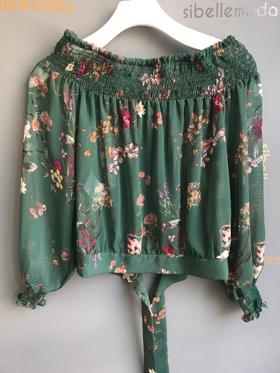 Blusa esmeral Chiffon Cores Roxo e Verde