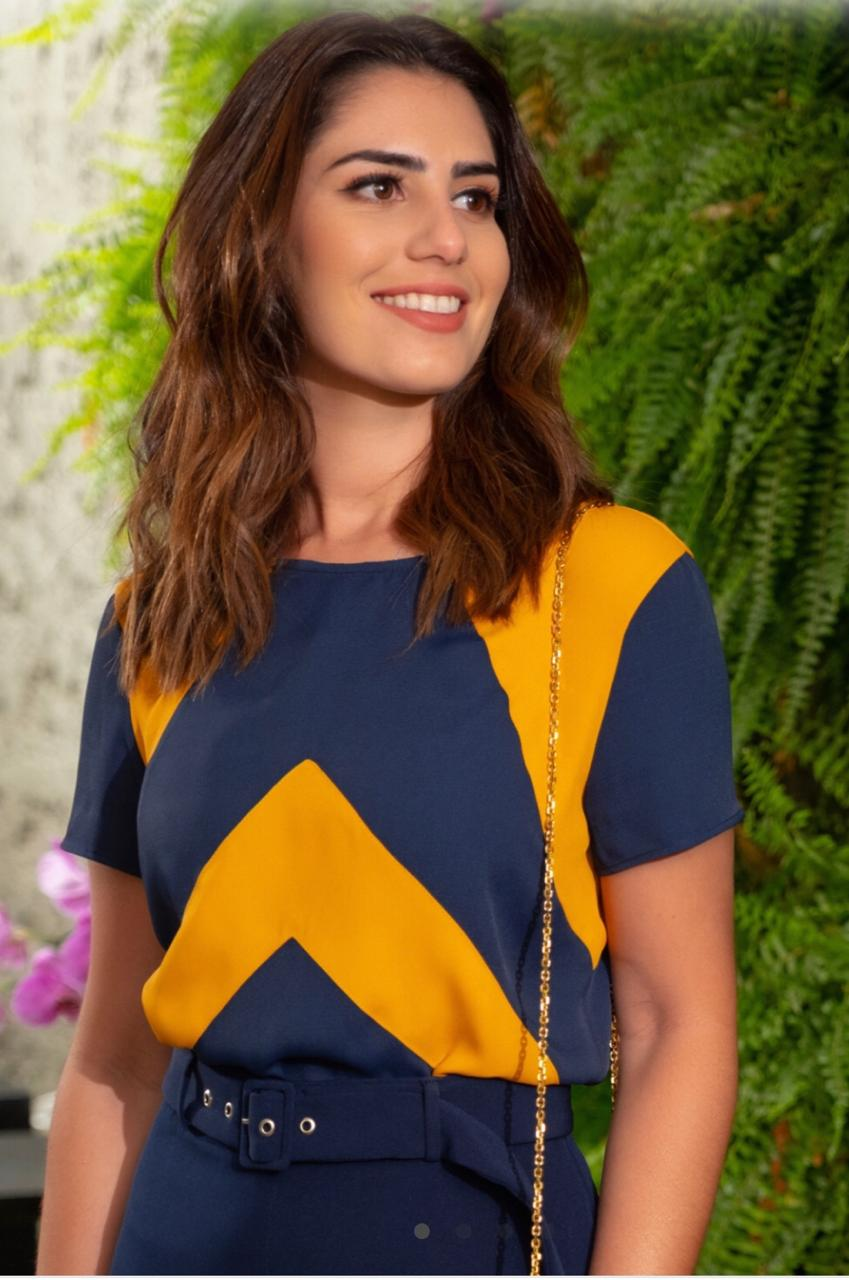 Blusa Fabiana crepe Bicolor