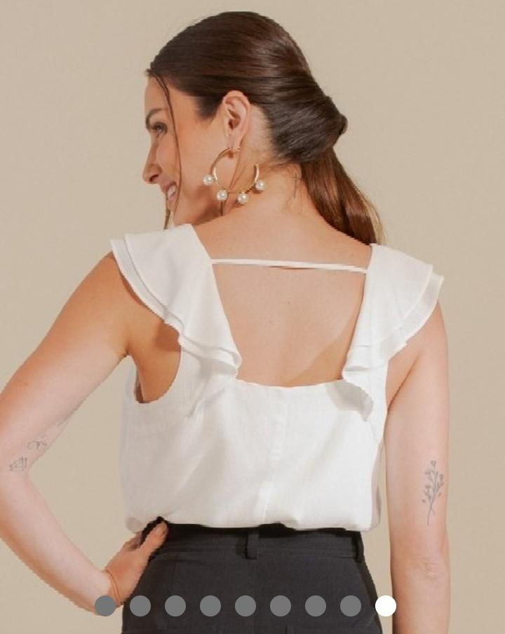 Blusa Fabiola Regata Viscose Detalhe Textura Babados