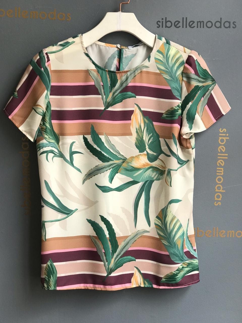 Blusa  Fabricia Crepe Print Folhas